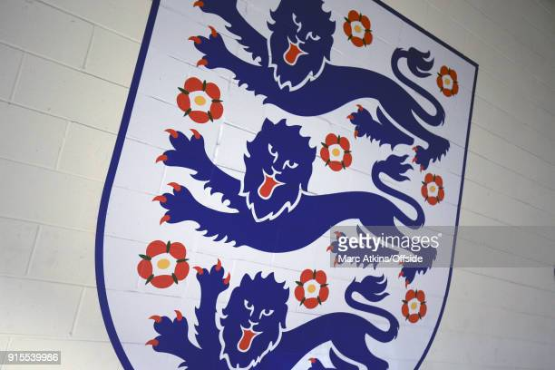 The Three Lions crest printed onto a wall at Wembley Stadiumduring the FA Cup Fourth Round replay between Tottenham Hotspur and Newport County at...