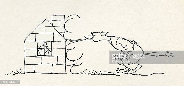 The Three Little Pigs English fairy tale The wolf cannot blow down the third pig's house made of bricks Illustration by Arthur Rackham