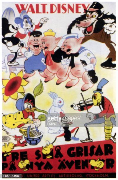 The Three Little Pigs poster clockwise from top left Mickey Mouse Three Little Pigs Big Bad Wolf Henny Penny 1933