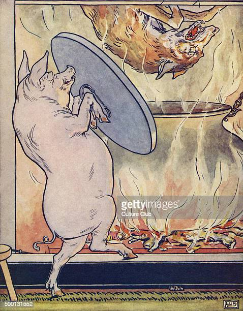 The Three Little Pigs the third pig boils the wolf when he comes down the chimney from The Golden Goose Book illustrated by Leonard Leslie Brooke