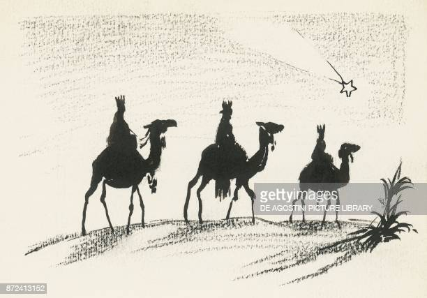 The three Magi following the comet on camelback drawing