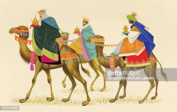 The three Magi on camelback children's illustration drawing