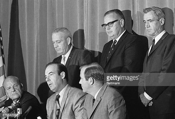 The three man team that will prosecute accused assassin of Senator Robert F Kennedy Sirhan B Sirhan appears at press conference here Left to right...