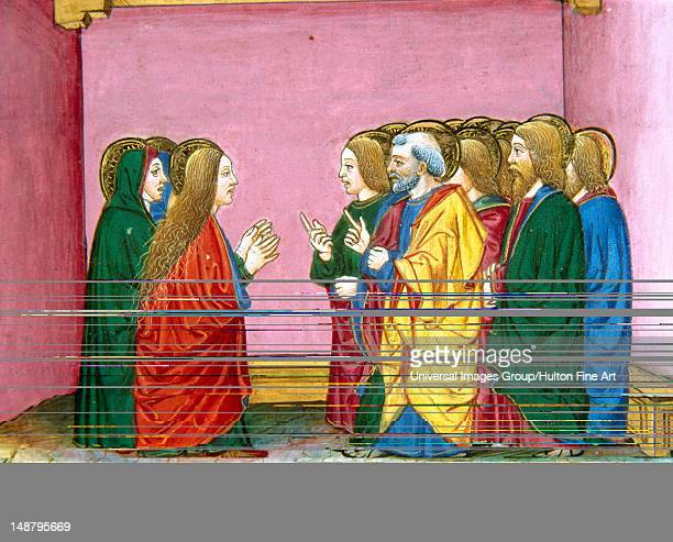The three Marys announce to the disciples that Jesus has risen Codex of Predis Royal Library Turin Italy