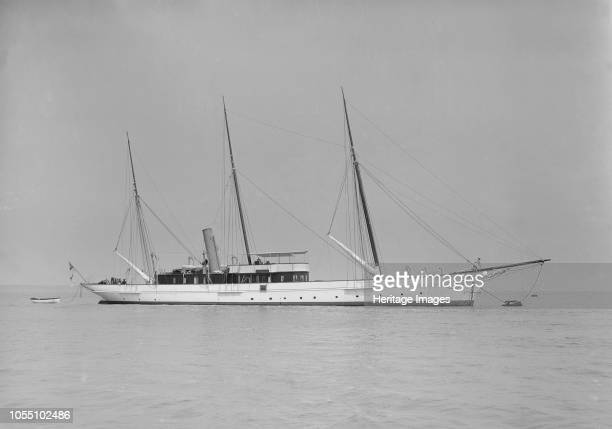 The three mast steam yacht 'Aries' 1911 'Aries' was built for Sir James Ramsden by Barrow Ship Building Company 'Aries' was sunk by a mine in 1915...