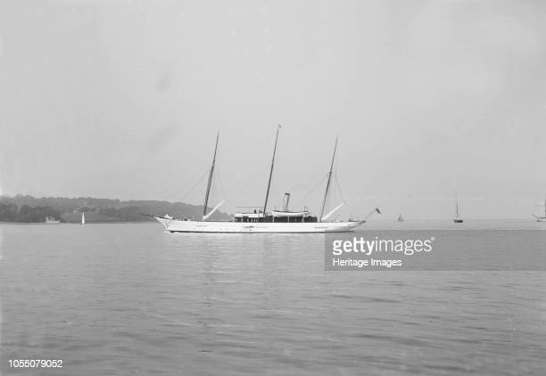 The three mast steam yacht 'Aries' built for Sir James Ramsden by Barrow Ship Building Company 'Aries' was sunk by a mine in 1915 Artist Kirk Sons of...