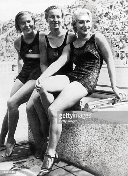 The three medallist on the Women's high board diving event bronze winner Kathe Kohler of Germany silver winner Velma Clancy Dunn of the USA and gold...