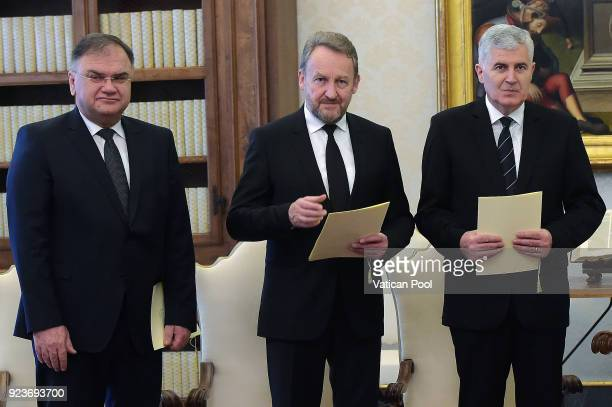 The three members of Bosnia's tripartite presidency Mladen Ivanic Bakir Izetbegovic and Dragan Covic attend an audience with Pope Francis at the...