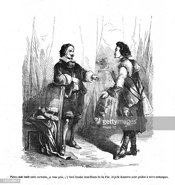 The Three Musketeers Cardinal de Richelieu and Mr de Treville Engraving 19th century Alexandre Dumas Private collection