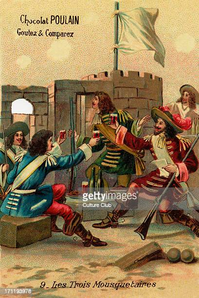 The Three Musketeers D'Artagnant and his three friends eating and drinking resume their plan of defence at La Rochelle after spotting an English...