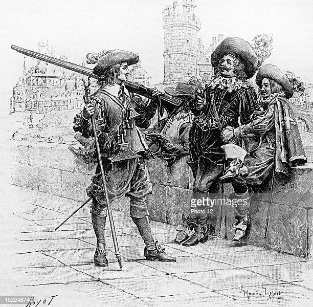 The Three Musketeers Engraving 19th C 19th century Alexandre Dumas Private Collection