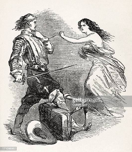 'The Three Musketeers' illustration from the book by Alexandre Dumas of d'Artagnan being attacked by 'Milady' French author 24 July 1802 5 December...