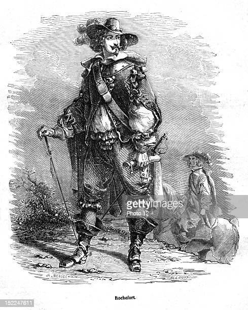 The Three Musketeers Mr de Rochefort Engraving 19th century Alexandre Dumas Private collection