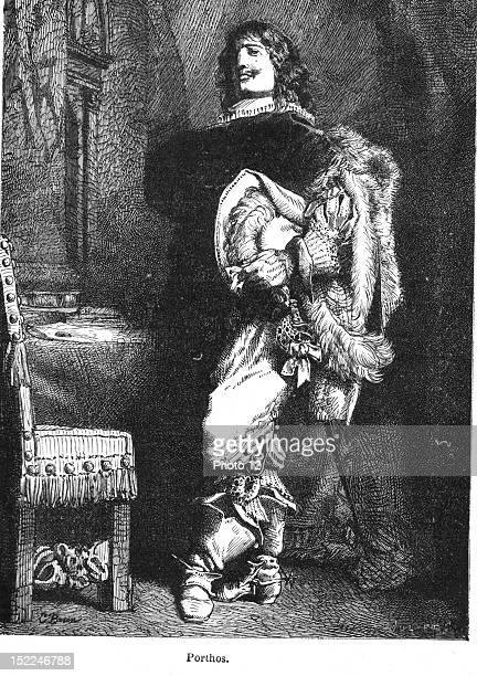 The Three Musketeers Porthos Engraving 19th century Alexandre Dumas Private collection