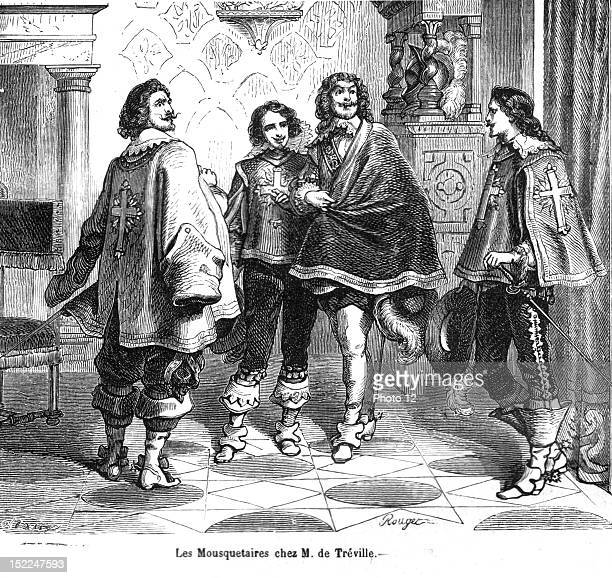 The Three Musketeers The Musketeers at Mr de Treville's place Engraving 19th century Alexandre Dumas Private collection