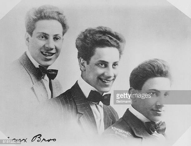 The three original Marx Brothers years ago when they played in Vaudeville Left to right Harpo Groucho and Gummo