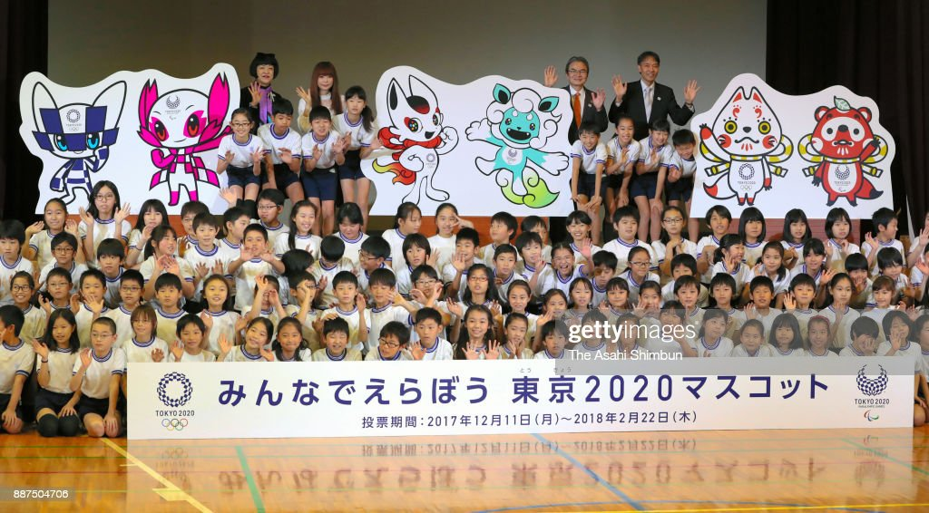 The three pairs of mascot designs shortlisted for the 2020 Tokyo Olympics and Paralympics are unveiled at Kakezuka elementary school on December 7, 2017 in Tokyo, Japan. Voting by elementary students throughout the country will be held from December 11 through February 22, according to the Tokyo Organizing Committee of the Olympic and Paralympic Games. The children will participate only by classes as a unit, not as individuals.