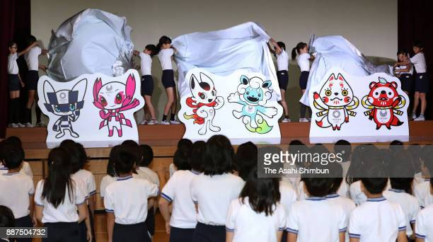 The three pairs of mascot designs shortlisted for the 2020 Tokyo Olympics and Paralympics are unveiled at Kakezuka elementary school on December 7...
