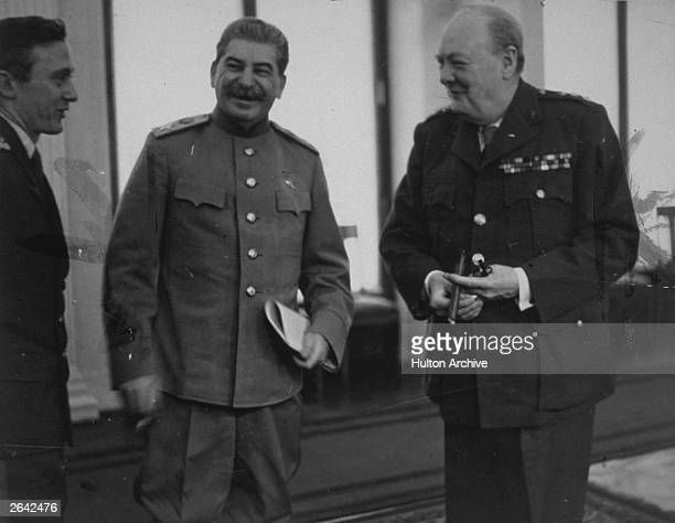 The Three Power Conference at Livadia Palace Yalta Marshal Stalin and Winston Churchill meet in the conference room
