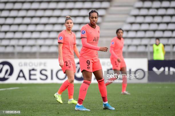 The three PSG goalscorers Lea KHELIFI of PSG Marie Antoinette KATOTO of PSG and Ashley LAWRENCE of PSG during the Division 1 match between Paris FC...