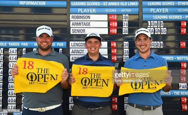 The three qualifiers, Jack Senior of England, Marcus Armitage of England and James Robinson of England pose with The Open pin flags during The Open...
