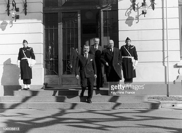 The Three Representatives Of The French Government Robert Buron Jean De Broglie And Louis Joxe When Arriving In Hotel Du Parc To Be Back In Talks...