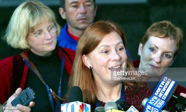 The three sisters of Holly Maddux Mary Maddux Meg Wakeman and Elisabeth Buffy Maddux answer questions at a press conference following a day of...