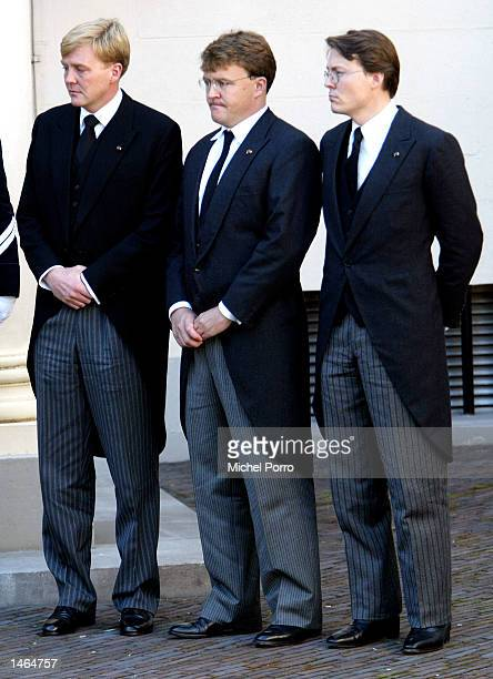 The three sons of Prince Claus of The Netherlands Prince Constantijn Prince Johan Friso and Crown Prince Willem Alexander watch the coffin containing...