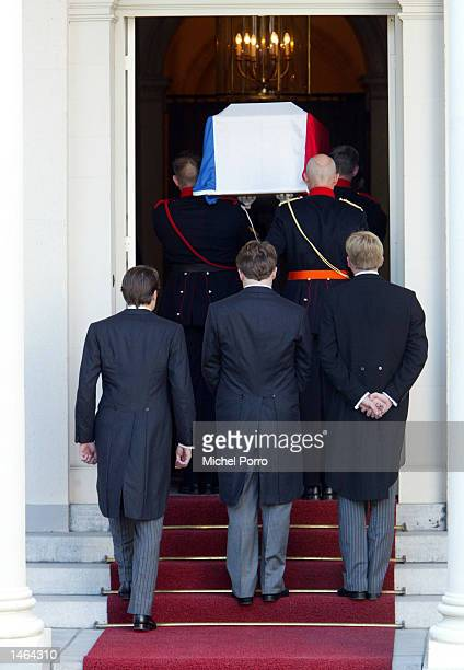 The three sons of Prince Claus Prince Constantijn Prince Johan Friso and Crown Prince Willem Alexander follow the coffin containing their father on...