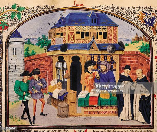 The three species of friendship miniature from Ethics Politics the Economy by Aristotle manuscript folio 127 verso France 15th Century