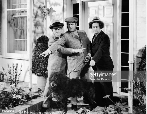 The Three Stooges experience some confusion while walking their dog in a still from an unidentified film LR American actors Moe Howard Curly Howard...