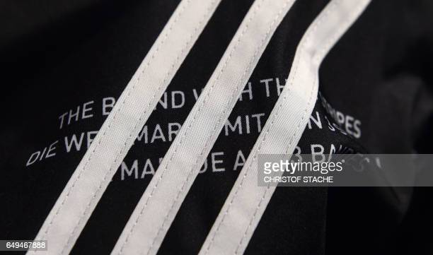 The three stripes of the German sportswear maker Adidas are on display in the company headquarters in Herzogenaurach southern Germany during the...