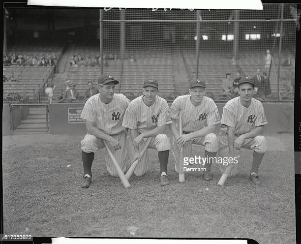 The three veterans and one newcomer who compromise the brilliant infield of the New York Yankees winners of the American League Pennant are shown...
