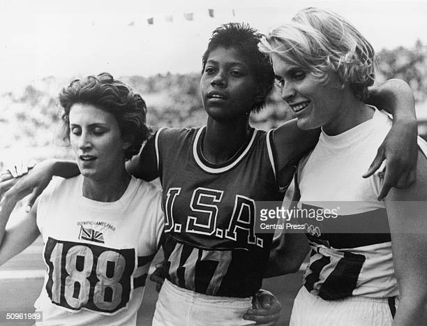 The three winners of the Ladies 200 metre final at the Rome Olympics 6th September 1960 From left to right Britain's Dorothy Hyman the USA's Wilma...
