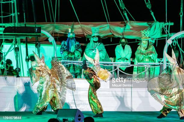 The Three Wise Men and Barcelona's Mayor Ada Colau attending a performance on board of the Pailebot, sailboat Santa Eulalia at Forum Port on January...