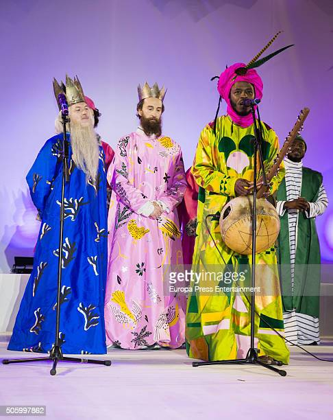 The Three Wise Men are seen during the Three Kings parade on January 5 2016 in Madrid Spain