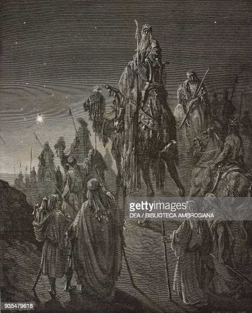 The three wise men from the east follow the star to Bethlehem engraving by Gustave Dore from The Holy Scriptures containing the Old and New...