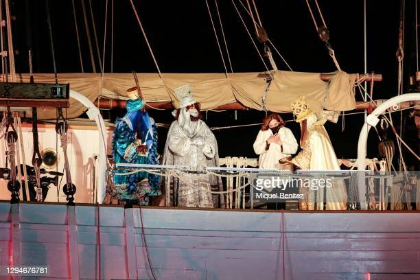The Three Wise Men greet Barcelona's Mayor Ada Colau with a present on board of Pailebot, sailboat Santa Eulalia at Forum Port on January 05, 2021 in...