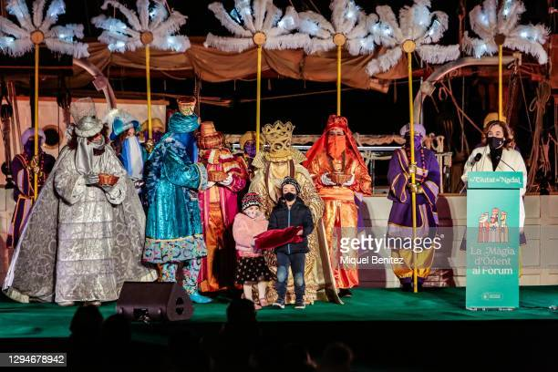 The Three Wise Men greet the gifts and Barcelona's keys from children and Barcelona's Mayor Ada Colau attending at Forum Port on January 05, 2021 in...