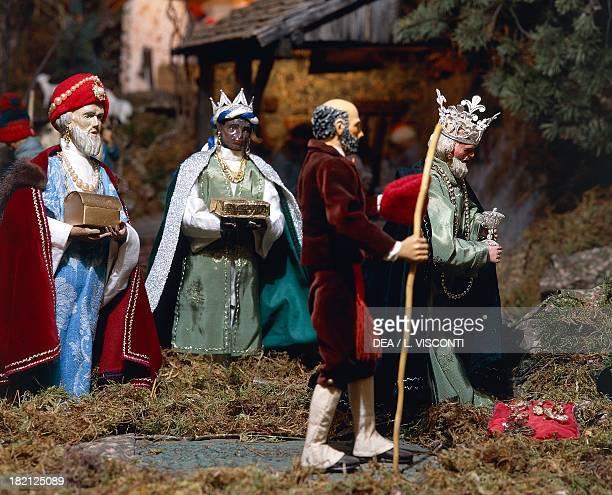 The three wise men mechanised nativity scene from Campoligure Genoa Liguria Italy 20th century