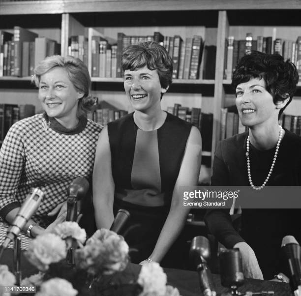 The three wives of the Apollo 11 astronauts at a press conference UK 14th October 1969 Joan Aldrin Janet Armstrong Pat Collins