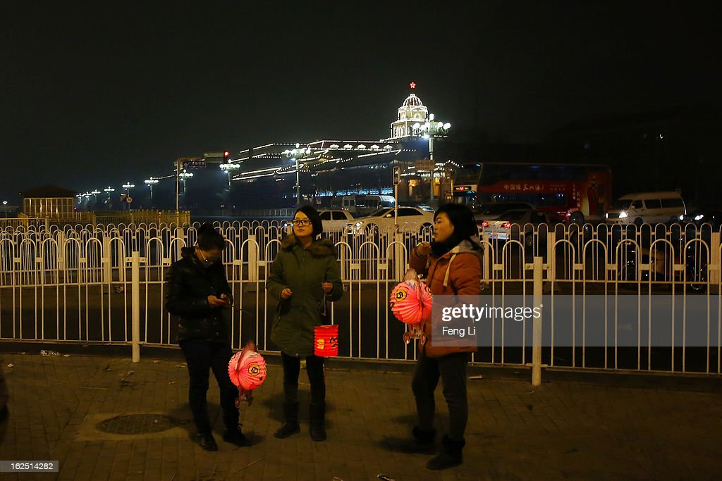 The three women hold the lanterns near the Tiananmen Square during the Lantern Festival which falls on February 24 and traditionally marks the end of the Lunar New Year celebrations on February 24, 2013 in Beijing, China. The Lantern Festival is a Chinese festival celebrated on the fifteenth day of the first month in the lunar new year in the Chinese calendar.