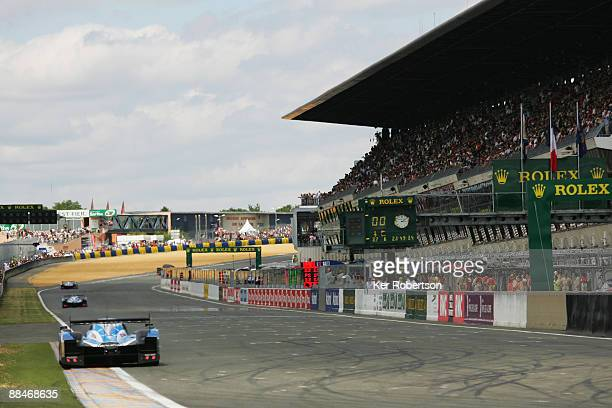 The three works Peugeots lead at the start of the 77th running of the Le Mans 24 Hour race at the Circuit des 24 Heures du Mans on June 13 2009 in Le...