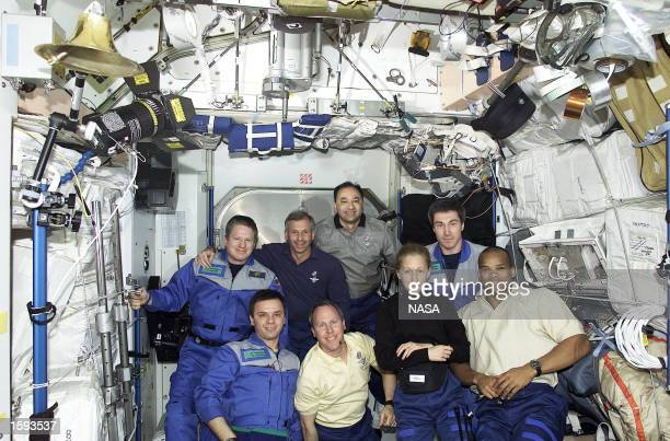 The three-man Expedition One crew hosts its second group of visitors since beginning occupancy of the International Space Station in November of last...