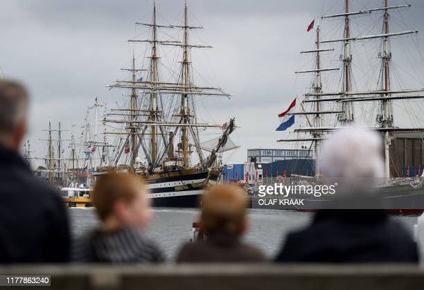 The threemaster Amerigo Vespucci and the Clipper City Amsterdam moor in the harbor of IJmuiden on August 18 2010 participating in Sail 2010 event The...