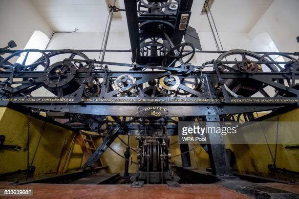The threetrain clock which drives the hands the hourly chimes and the quarterhourly chimes of Big Ben is seen in the mechanism room which will be...