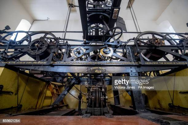 The threetrain clock within the mechanism room which drives the hands the hourly chimes and the quarterhourly chimes of Big Ben which will be...