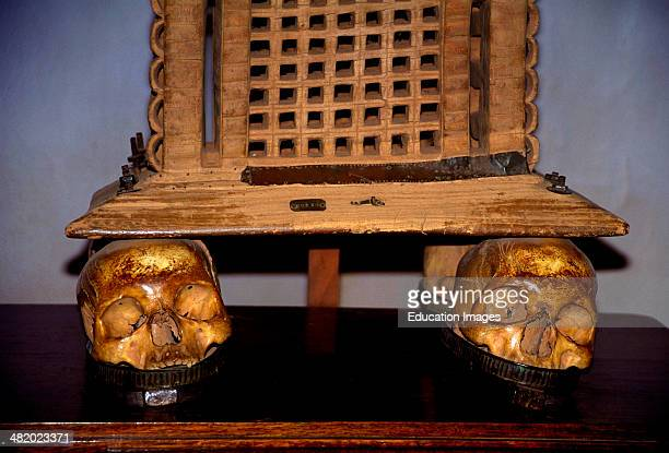 The throne of King Ghezo a formidable monarch of the ancient Fon Dynasties in Benin formerly called Dahomey Ghezo had his throne mounted on the...