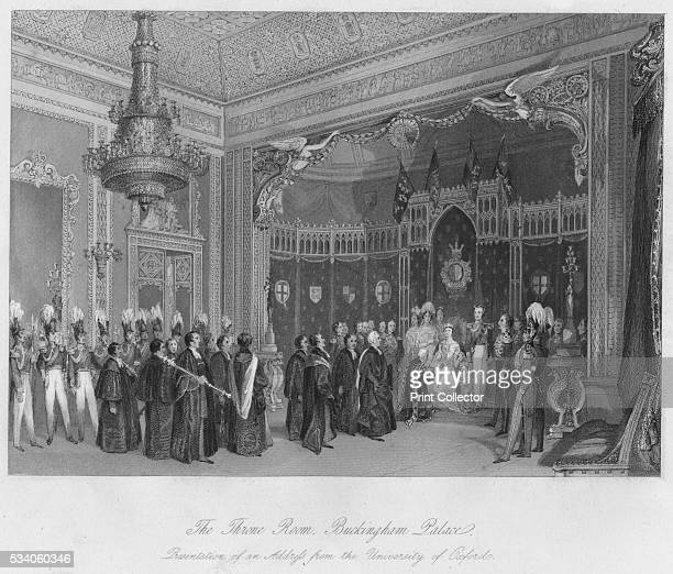 The Throne Room Buckingham Palace Presentation of an Address from the University of Oxford' from 'London Interiors with their Costumes Ceremonies...