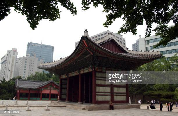 The throne room of the Deoksugung Palace sits with the modern day skyscapers in the heart Seoul City